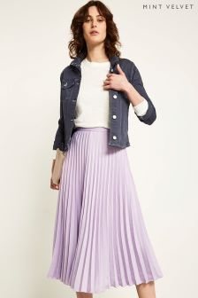 Mint Velvet Purple Satin Pleated Skirt