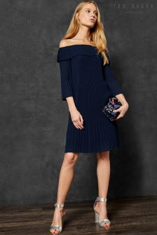 Ted Baker Franeis Bardot Navy Pleat Dress