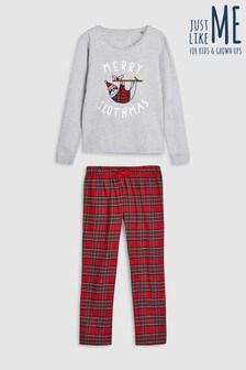 """Пижама с надписью """"Merry"""", ленивцем и шотландской клеткой"""