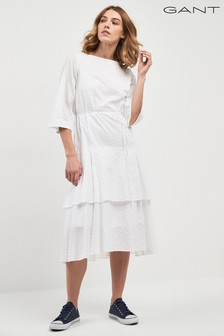 GANT White Sateen Striped Ruffle Midi Dress