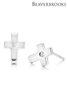 Beaverbrooks Children's Silver Diamond Cross Stud Earrings