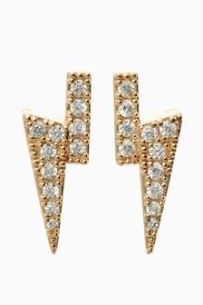 Diamanté Bolt Stud Earrings