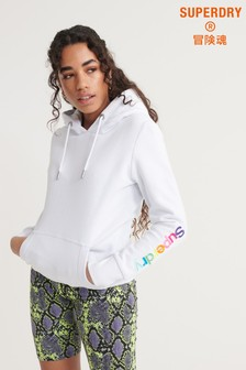 Superdry Swiss Logo Embroidered Sleeve Brushed Hoody
