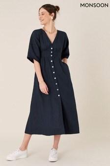 Monsoon Button Through Midi Dress In Pure Linen