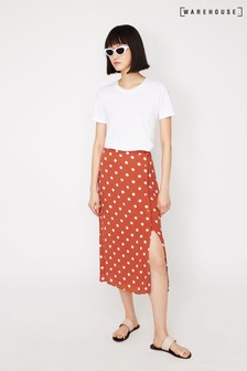 Warehouse Red Coral Spot Wrap Midi Skirt
