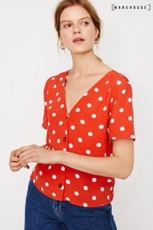 Warehouse Red Coral Spot Button Front Top