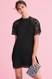 Lace Insert Pleat Dress