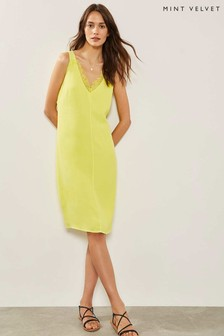 Mint Velvet Neon Yellow Lace Cocoon Dress
