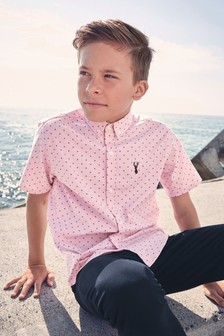 Short Sleeve Printed Oxford Shirt (3-16yrs)