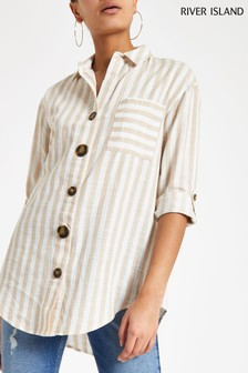 River Island Sand Button Down Casual Shirt