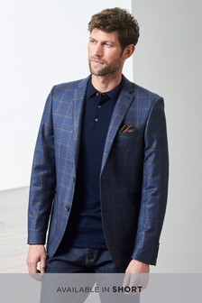 Signature Italian Wool Check Slim Fit Jacket