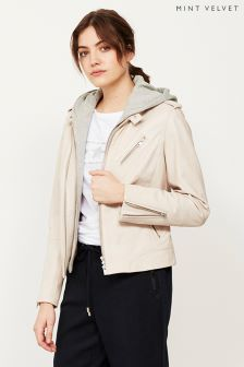 Mint Velvet Pink Hooded Collarless Leather Jacket