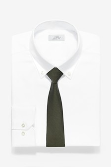 Slim Fit Single Cuff Shirt With Olive Tie Set