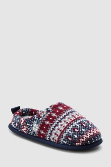 Fairisle Pattern Knit Mule Slippers (Older)