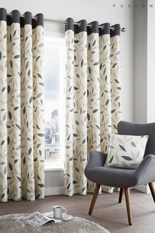 Fusion Beechwood Leaves Lined Eyelet Curtains