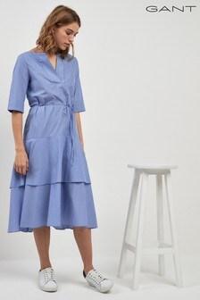 GANT Pinstriped Ruffle Midi Dress