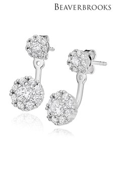 Beaverbrooks Silver Cubic Zirconia Jacket Earrings