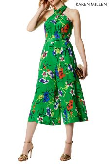 Karen Millen Green Fresh Floral Print On Silk Jumpsuit