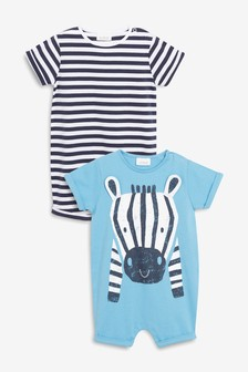 Zebra Character Rompers Two Pack (0mths-2yrs)