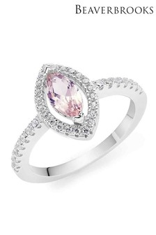 Beaverbrooks Silver Cubic Zirconia Synthetic Morganite Halo Ring