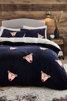 Fleece Reindeer Duvet Cover and Pillowcase Set