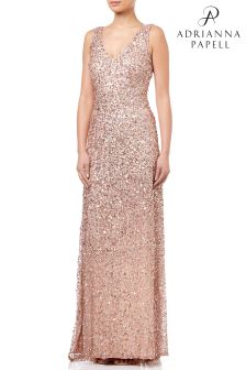 Adrianna Papell Gold VNeck Crunchy Bead Gown