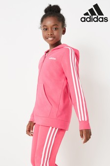 adidas Pink 3 Stripe Essential Zip Through Hoody