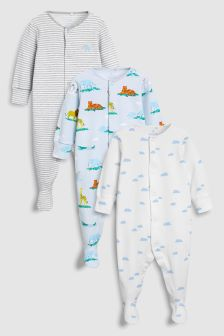 Delicate Safari Animal Sleepsuits Three Pack (0mths-2yrs)