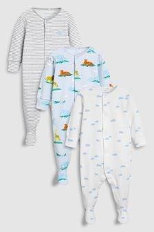 Set trei pijamale cu imprimeu delicat cu animale din safari (0 luni - 2 ani)