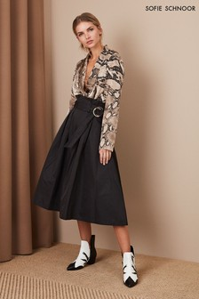 Sofie Schnoor Black Belted Midi Skirt