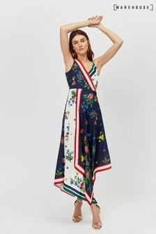 Warehouse Black Mixed Floral Print Dress