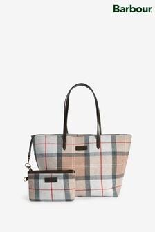 Barbour® Taupe/Pink Tartan Check Shoulder Bag