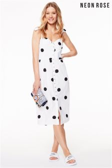 Midi Sun Dress With Button Front In Spot - White Neon Rose YeqETPB