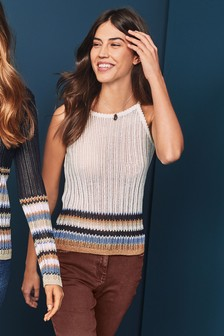 Stripe Knit Halterneck Top