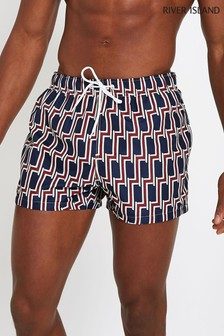 River Island Blue Geo Print Swim Short