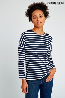 People Tree Navy Organic Cotton Nerissa Stripe Top