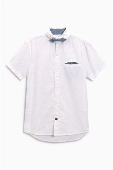 Short Sleeve Neppy Shirt With Bow Tie (3-16yrs)