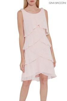 Gina Bacconi Pink Vesta Chiffon Tiered Dress