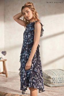 Mint Velvet Louise Print Ruffle Midi Dress