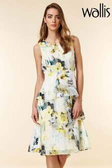 Wallis Yellow Floral Tiered Overlayer Dress