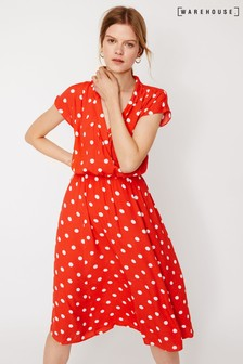 Warehouse Red Coral Spot Shirt Midi Dress