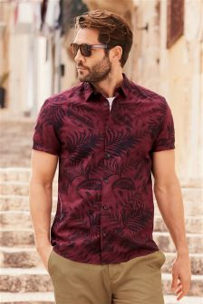 Short Sleeve Garment Dyed Printed Shirt
