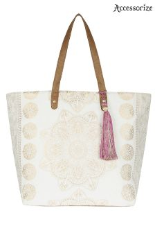Accessorize Ava Print Block Tote Bag