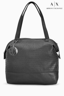 Armani Exchange Black All Over Logo Tote Bag