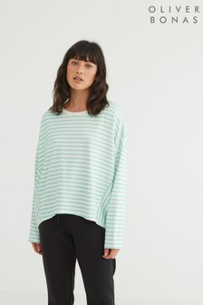 Oliver Bonas Green Stripe Relaxed Jersey Top