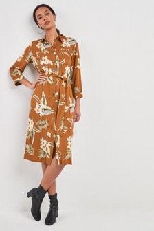 Vestido camisero utilitario con estampado floral