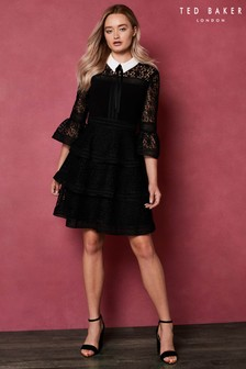Ted Baker Black STARH Lace Ruffle Dress