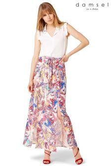 Damsel Pink Audrina Splatter Print Maxi Skirt