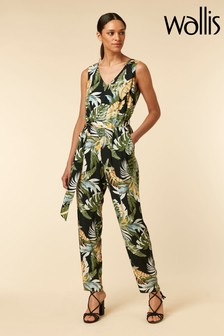Wallis Black Palm Jumpsuit