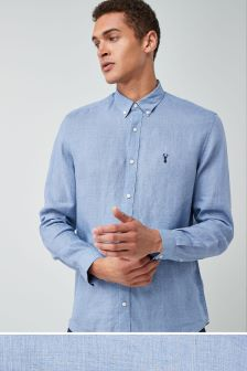 Long Sleeve Pure Linen Stag Shirt